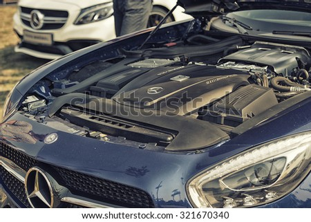 Sleza, Poland, August 15, 2015: Close up on Mercedes AMG engine  on  Motorclassic show on August 15, 2015 in the Poland