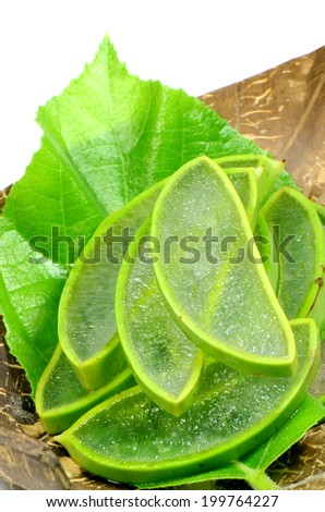Slice Aloe Vera (Aloe barbadensis  Mill.,Star cactus, Aloe, Aloin, Jafferabad or Barbados) a very useful herbal medicine for skin treatment and use in spa for skin care.