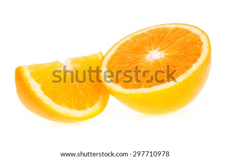 slice and half orange fruit isolated on write background
