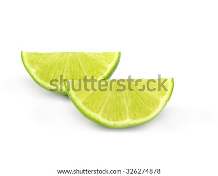 Slice and lime isolated on a white cutout. - stock photo