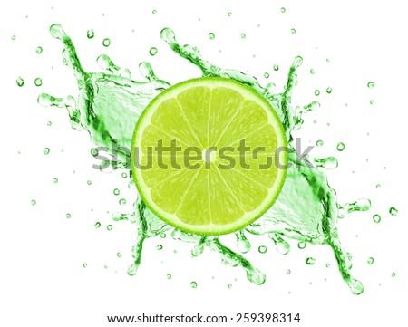 slice and lime juice splash isolated on white - stock photo