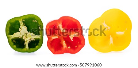 slice Bell Pepper isolated on white background