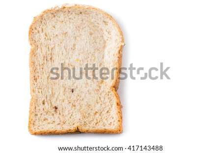 Slice bread grains isolated on white background - stock photo