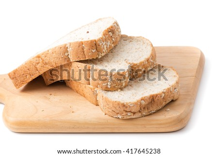 Slice bread grains isolated on white background
