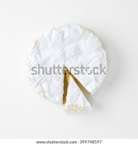 slice camembert cheese isolated on white
