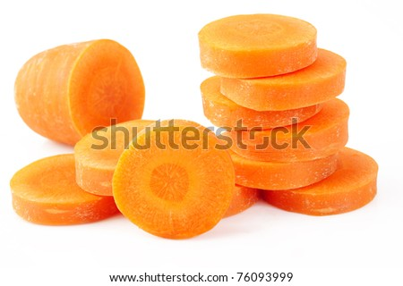 slice carrot on white background - stock photo