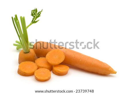 slice fresh carrots on white background