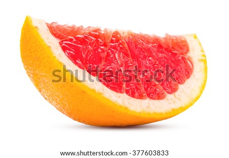 slice grapefruit citrus fruit fresh and juicy isolated on white background with clipping path