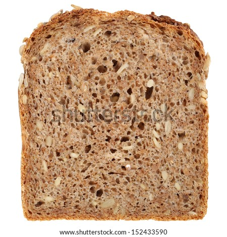 Slice of a whole wheat bread isolated on a white background