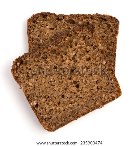 Slice of a whole wheat bread isolated on a white background  - stock photo