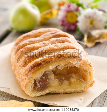 slice of an apple strudel on a baking paper - stock photo
