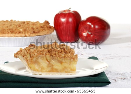 slice of apple crumble with fruit - stock photo