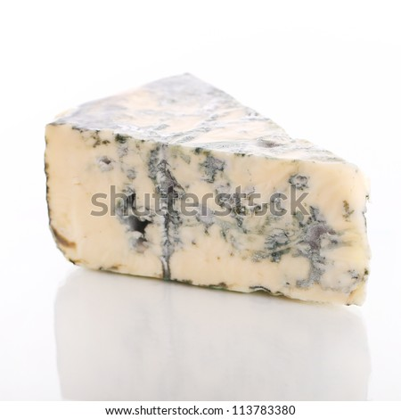 Slice of blue cheese over white background - stock photo
