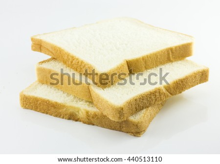 slice of bread isolated on white background.copy space and selective focus - stock photo