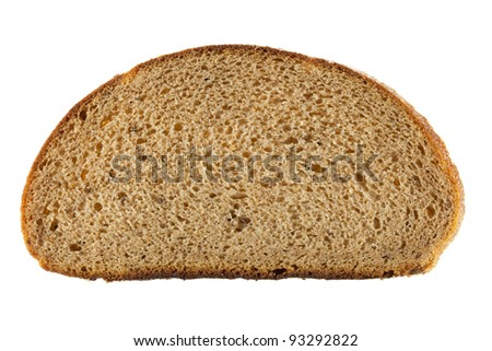 slice of bread isolated on white with clipping path. - stock photo
