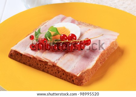 Slice of bread with bacon