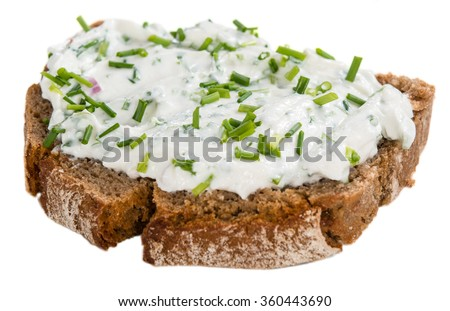 Slice of Bread with Herb Curd isolated on white background - stock photo
