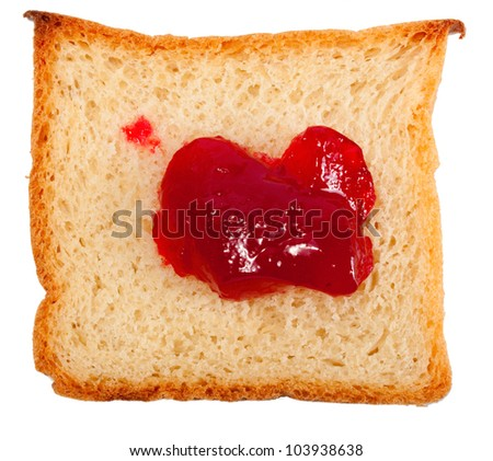 slice of bread with jam isolated on white background