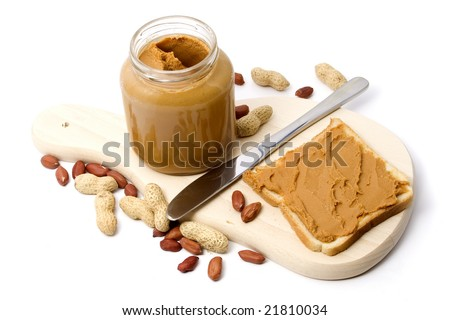 Slice of bread with peanut butter spread