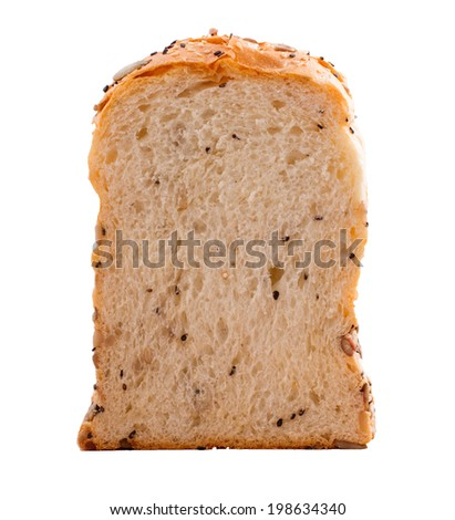 Slice of bread with sun flower seeds isolated on white background. - stock photo