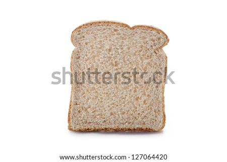Slice of brown bread displayed on white background.