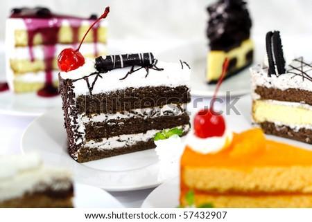 Slice of cakes - stock photo