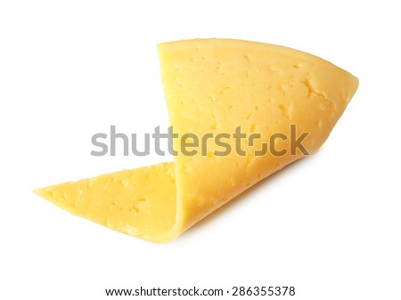 Slice of cheese isolated on white