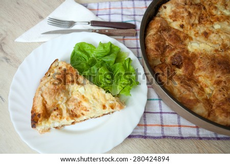 Slice of Cheese Pie - stock photo
