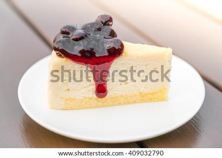 Slice of  Cheesecake - stock photo