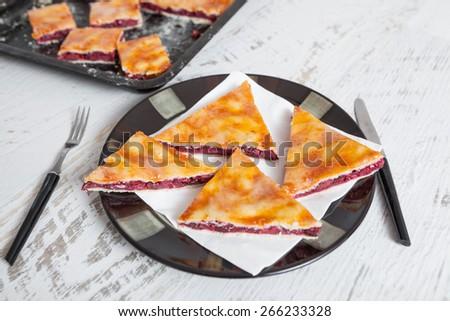 Slice of Cherry Pie - stock photo
