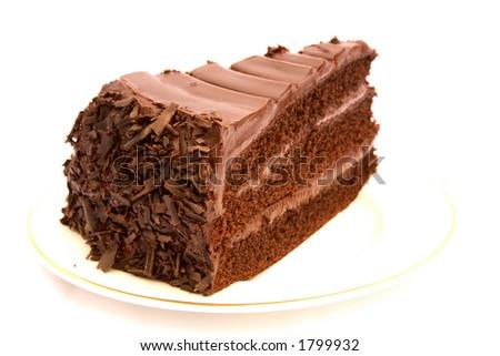 Slice of chocolate cake - stock photo