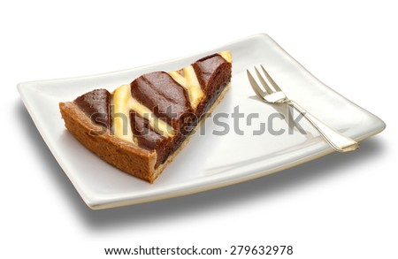 slice of chocolate cake on a white plate  - stock photo