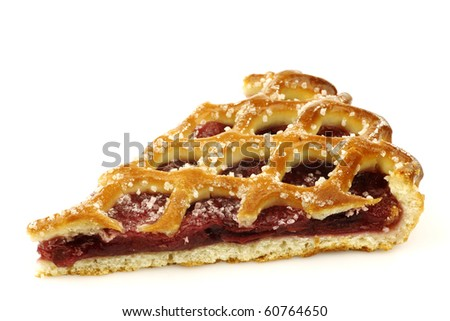 "slice of decorated cherry pie called ""vlaai"" in Holland on a white background"