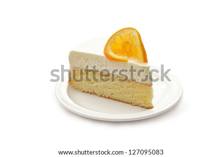 Slice of delicious ice cake with orange isolated on white
