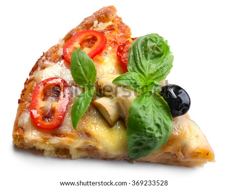 Slice of delicious pizza isolated on white background, close up - stock photo