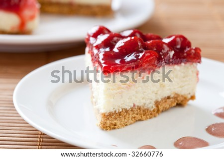 Slice of delicious strawberry cheese cake on a white plate