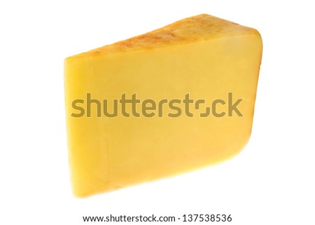 Slice of English Smoked Cheese on a White Background