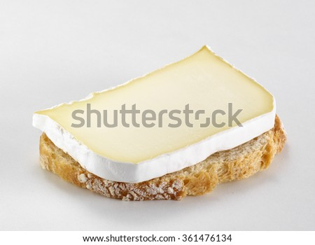 Slice of french cheese on a toast, isolated on a white background - stock photo