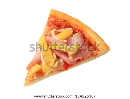Slice of fresh baked Hawaiian pizza