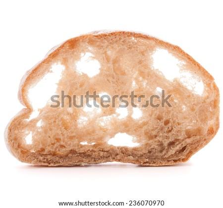 Slice of fresh ciabatta bread isolated on white background cutout - stock photo