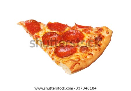 Slice of fresh italian classic original Pepperoni Pizza isolated on white background
