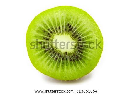 Slice of fresh kiwi fruit isolated on white background - stock photo
