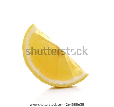 Slice of fresh lemon isolated on white background - stock photo