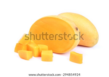 slice of fresh mango with clipping path.