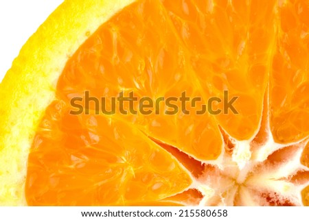 Slice of fresh orange background macro