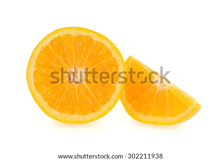 Slice of fresh orange isolated on white background - stock photo