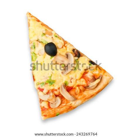 Slice of fresh pizza on white background - stock photo