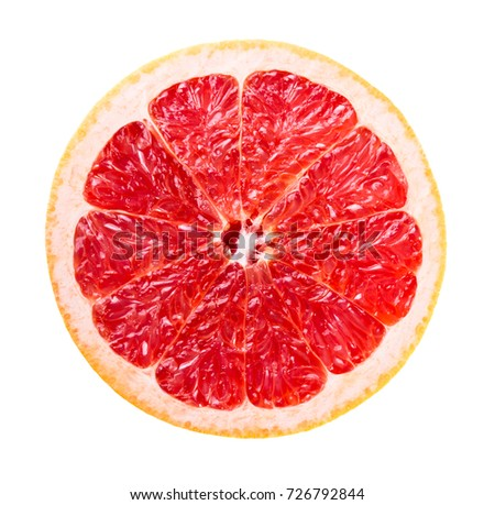 Slice of fresh ripe grapefruit isolated on white background