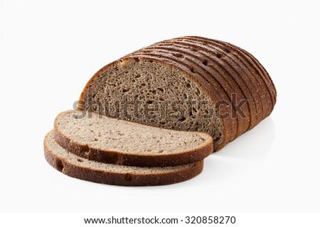 Slice of fresh rye bread isolated on white background - stock photo
