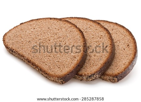 Slice of fresh rye bread isolated on white background cutout - stock photo